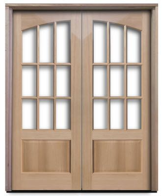 Oak   PreHung Interior 9 Lite Arched French Doors   36