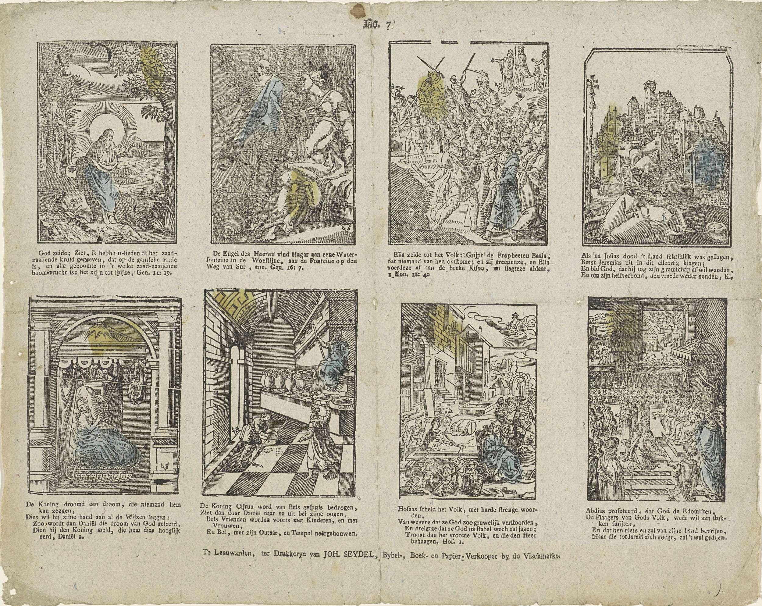 Christoffel van Sichem (IV) | Taferelen uit het Oude Testament, Christoffel van Sichem (IV), Johannes Seydel, 1776 - 1813 | Blad met 8 voorstellingen van verhalen uit het Oude Testament. Onder elke afbeelding een onderschrift. Genummerd midden boven: No. 7.