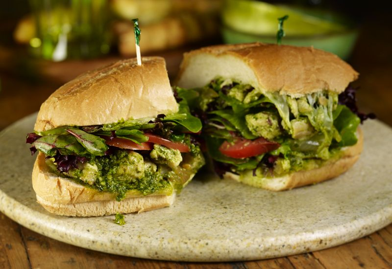STONEFIRE Grill's Pesto Chicken Sandwich served with from ...