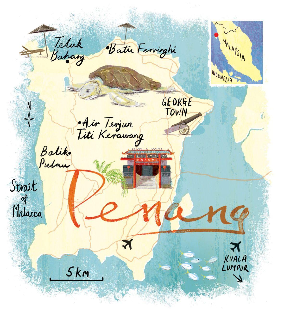 Penang Map By Scott Jessop Illustrated Map Map Penang