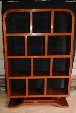 Art Deco Rosewood Libreria Shelf Gabinetto Unita Mobili Art Deco
