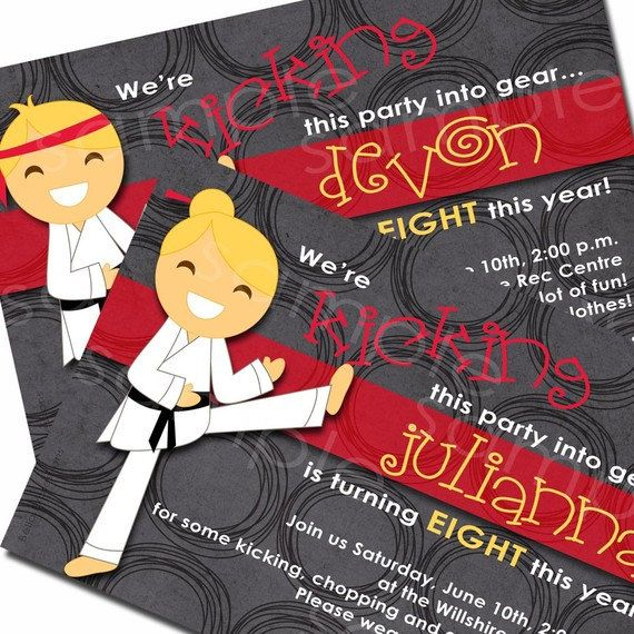 Karate Chop Birthday Party Invitation For By Missbellaexpressions