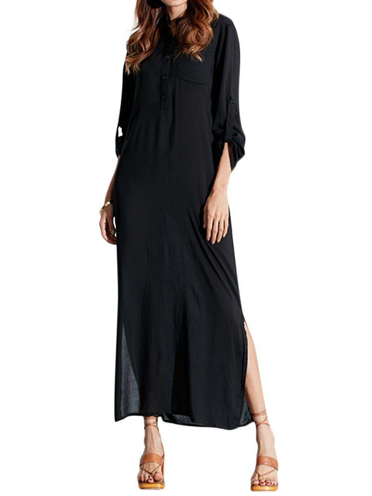 c55f4099221 Casual Pure Color Long Sleeve Women Maxi Dress - Banggood Mobile ...