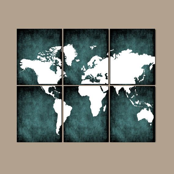 World map wall art canvas or prints bedroom pictures grunge effect world map wall art canvas or prints bedroom teal home por trmdesign gumiabroncs Images