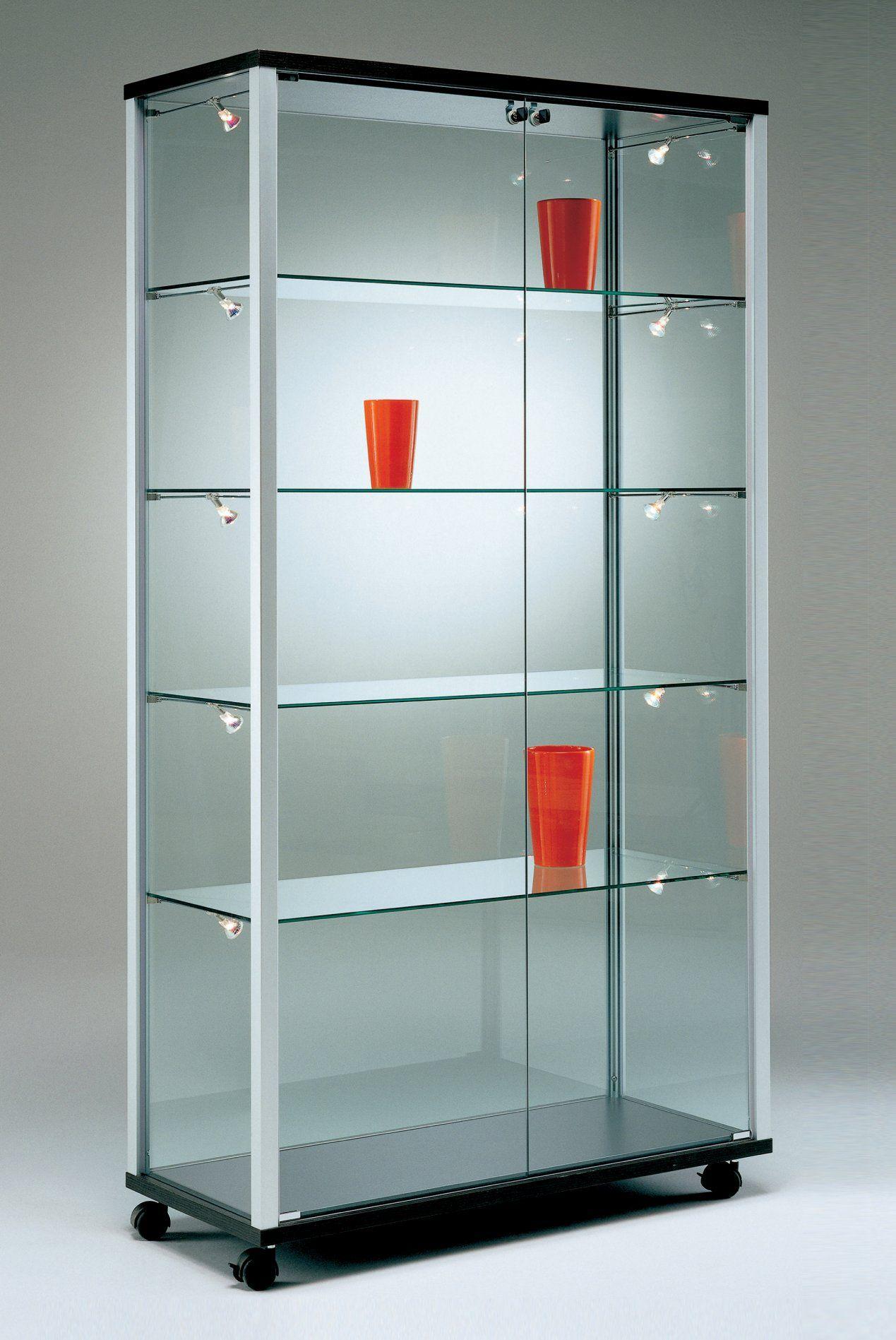 Staubdichte Standvitrine Auf Laufrollen Mit Stufenlos Verstellbaren Glasboden Vitrine Schranke Vitrinen Glasvitrine