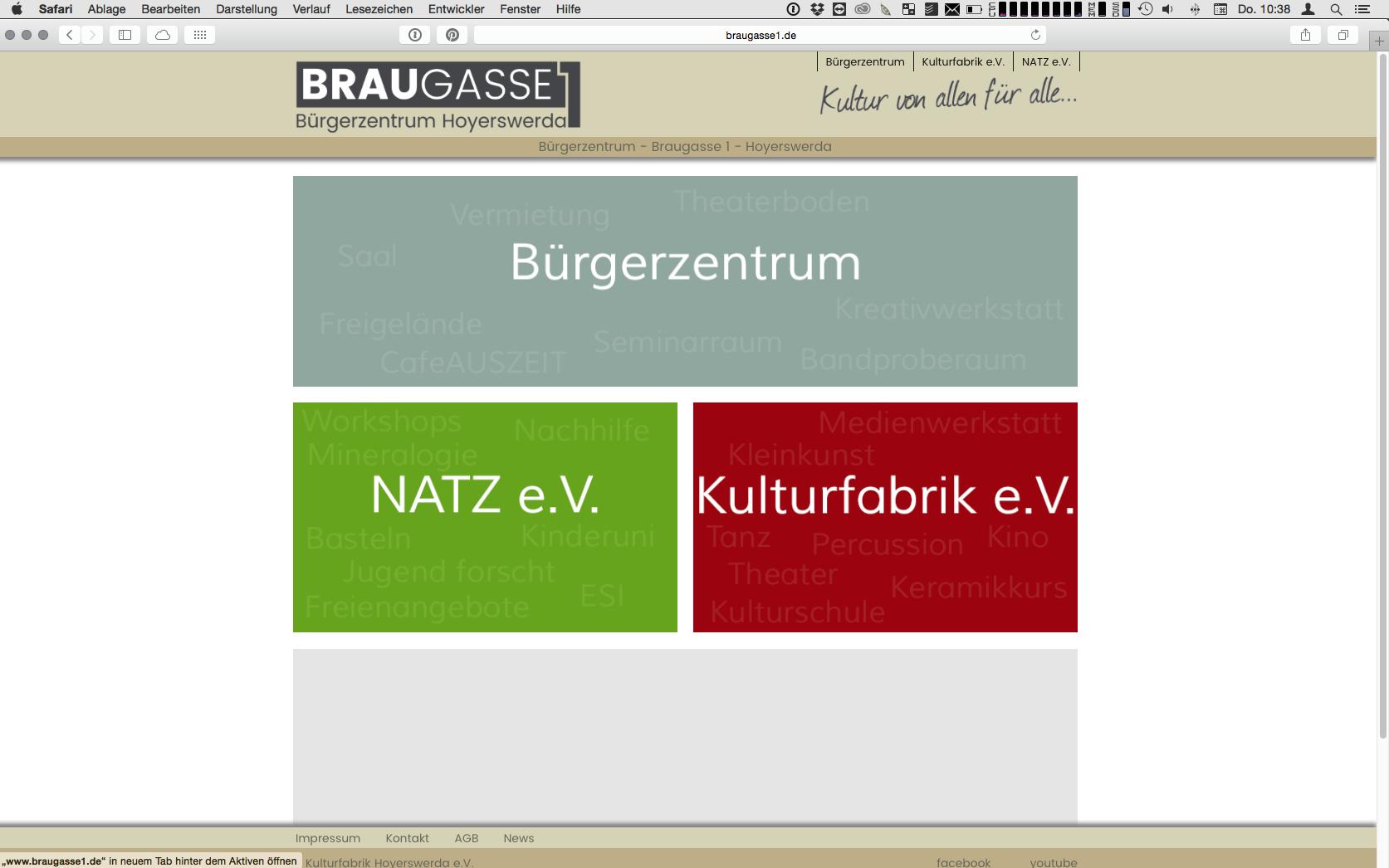 www.braugasse1.de Webseite für das Bürgerzentrum in Hoyerswerda