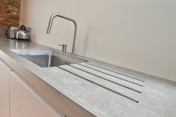 beton wand küche arbeitsplatte spüle simpel minimalistisch ...