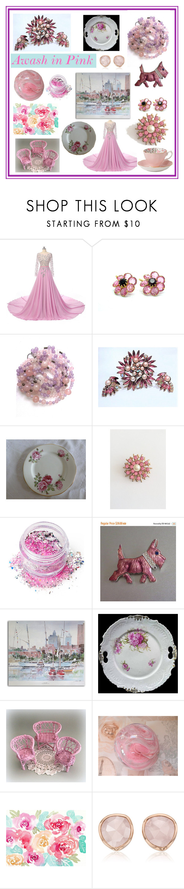 Awash in Pink by muskrosevintage on Polyvore featuring Monica Vinader, In Your Dreams, Royal Albert and vintage