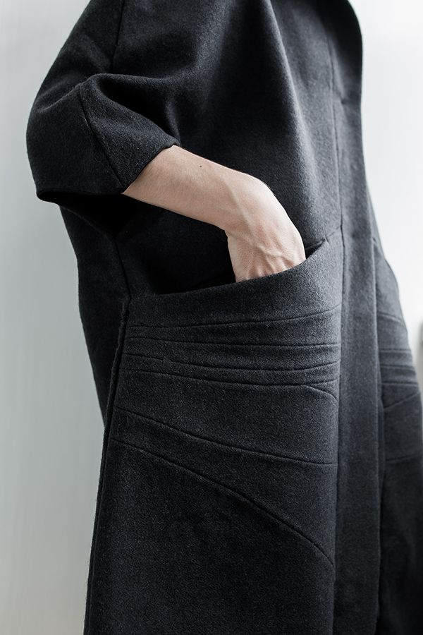 Wool coat pocket detail with decorative seam lines; creative sewing; patternmaking // Bannet