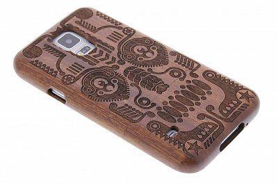 Echt houten hardcase hoesje met print voor de Samsung Galaxy S5 (Plus) / Neo