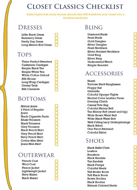 let the real world begin the closet checklist start with this