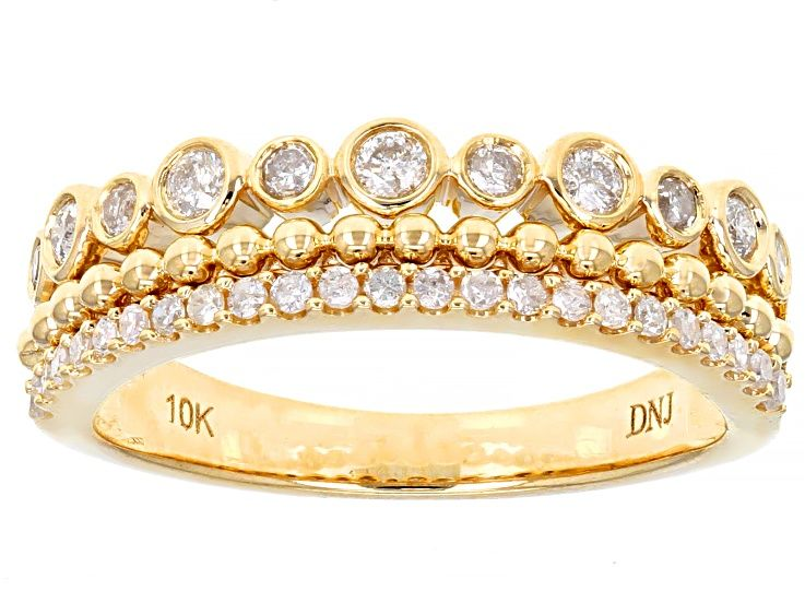 White Diamond 10k Yellow Gold Band Ring 0 39ctw In 2020 Gold Bands Gold Band Ring Gold