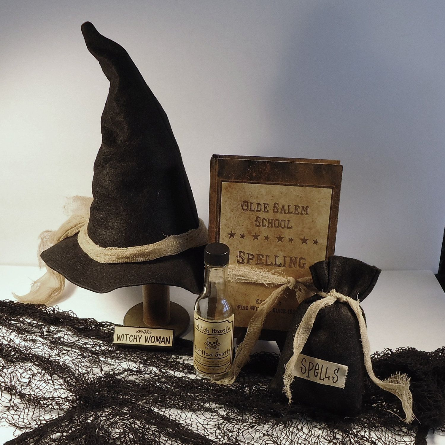 Halloween Decor Witch hat spell bag spell book spell by RaggedyRee ...
