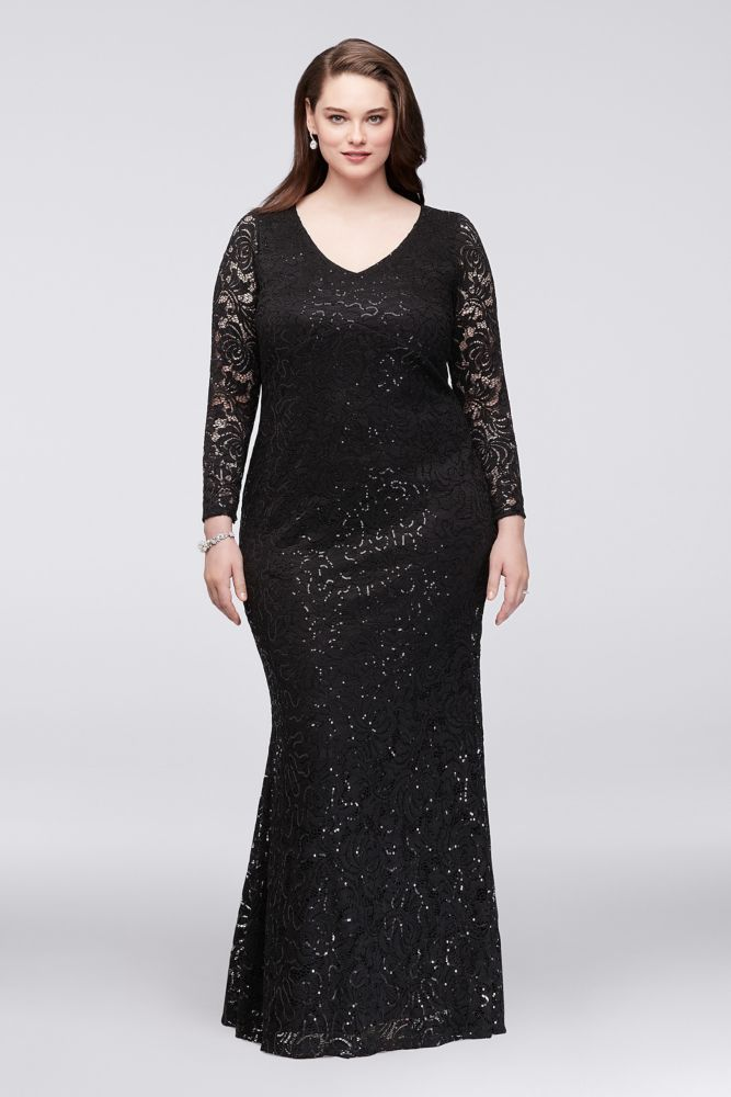 Long Sleeve Lace Plus Size Mother of Bride/Groom Gown with Keyhole ...