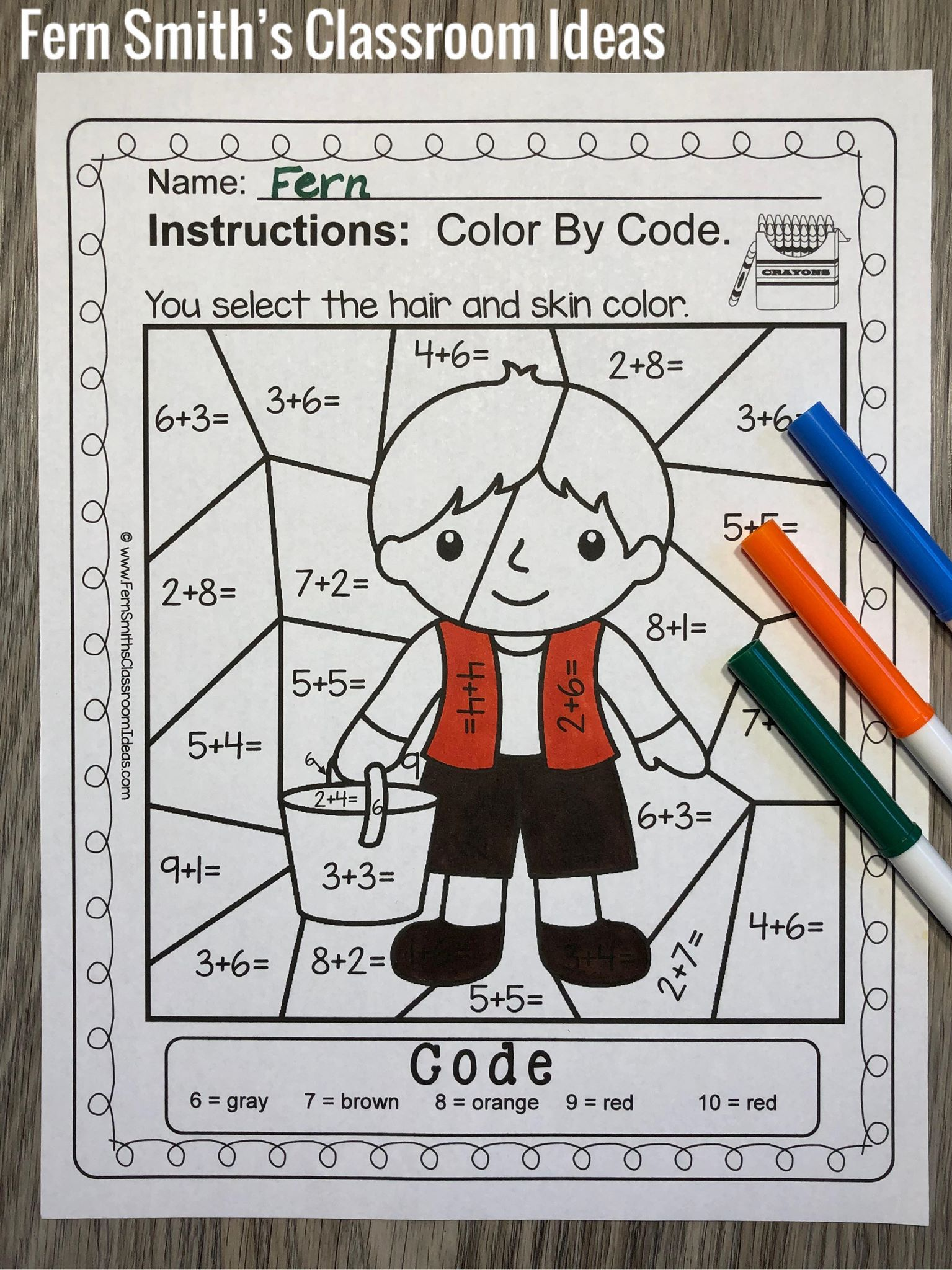 Color By Number Addition For Math Remediation Sums 6 To 10