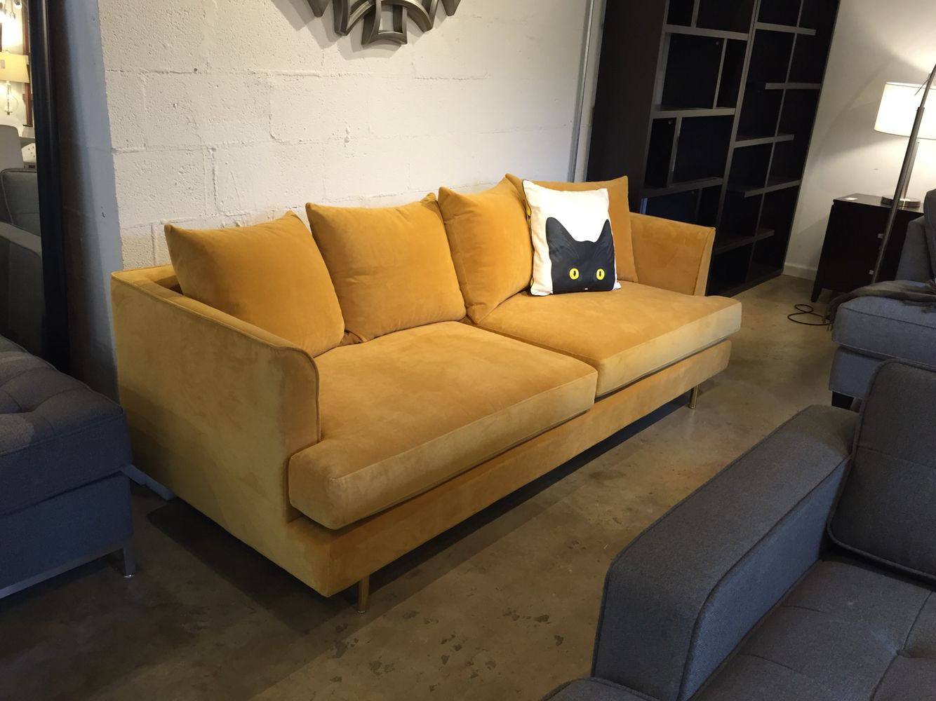 Gus modern margot sofa in velvet gold leaf at urbanloft for Gold velvet sectional sofa