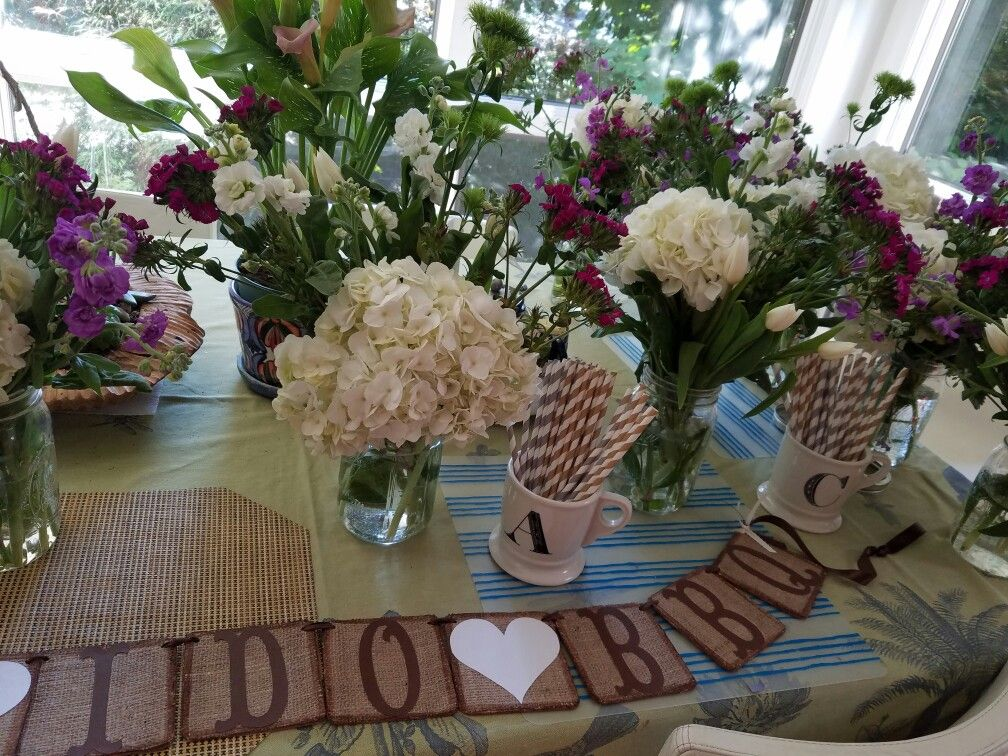 I do BBQ florals, banner and mugs with our initials