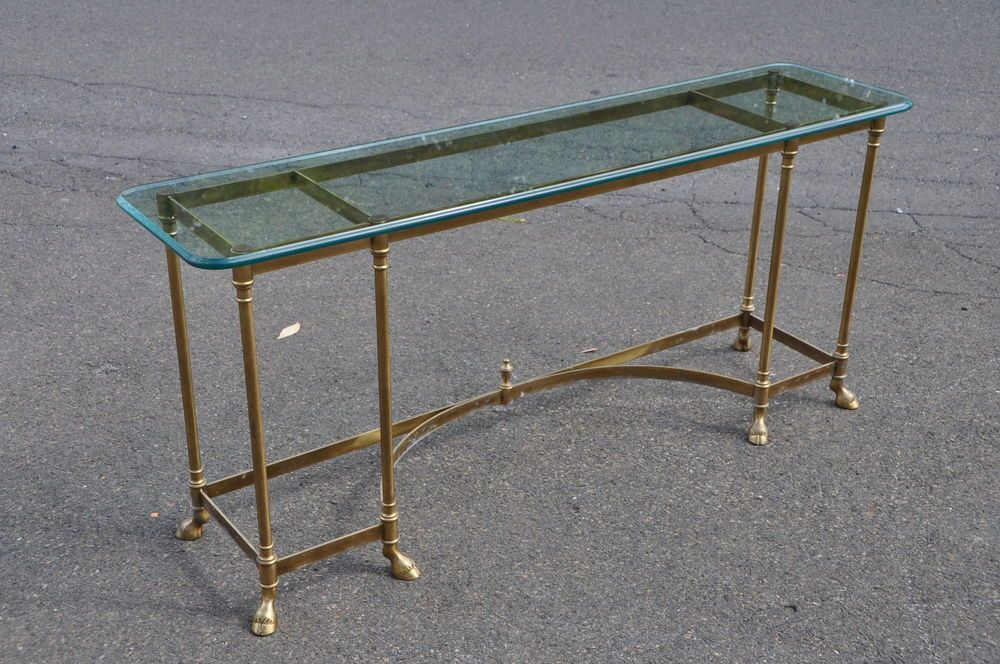 Labarge Made In Italy Glass Top Sofa Table With Hoof Feet