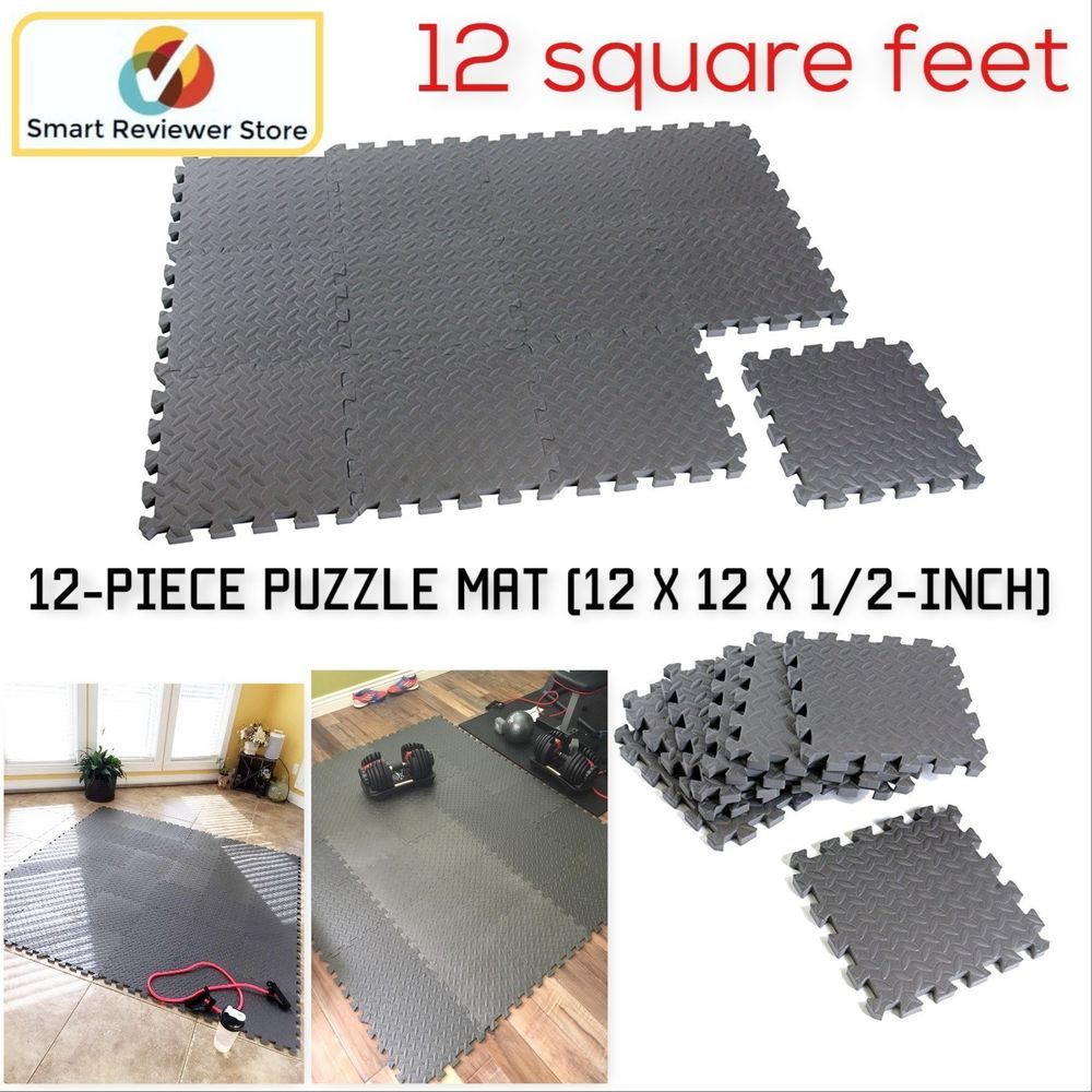 Rubber Gym Floor Mat 12 Piece Foam Puzzle Mat Flooring Exercise Workout Fitness Capbarbell Exercise Floor Mat Gym Floor Mat Puzzle Mat