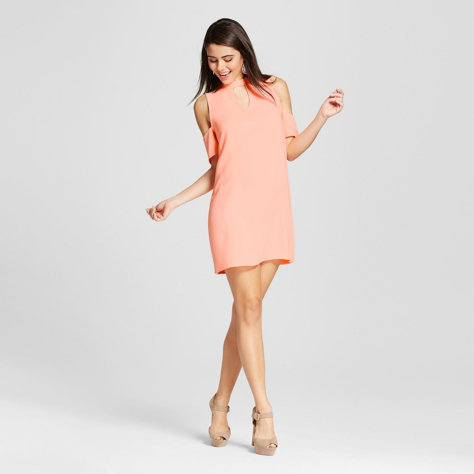 The Youthful Approach To The Women 39 S High Neck Keyhole Cold Shoulder Dress By Le Kate Juniors 39 Gives It Plucky Cold Shoulder Dress Dresses Mini Dress [ 1560 x 1560 Pixel ]