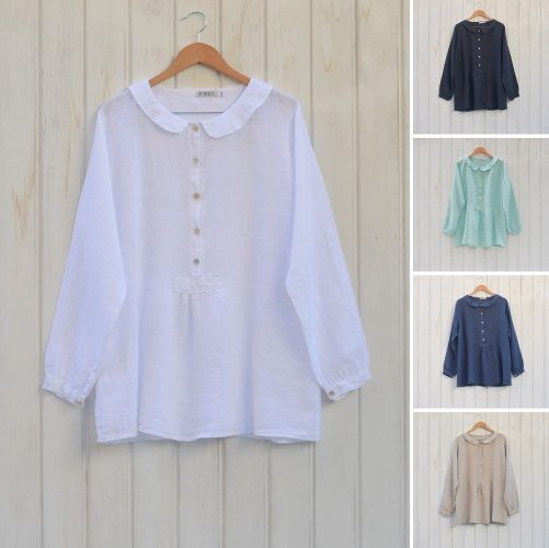 Linen Lagenlook Peter Pan Collar Shirt #linen #lagenlook #plussize Beautiful vintage style peter pan collar Linen Blouse. Stunning shirt!