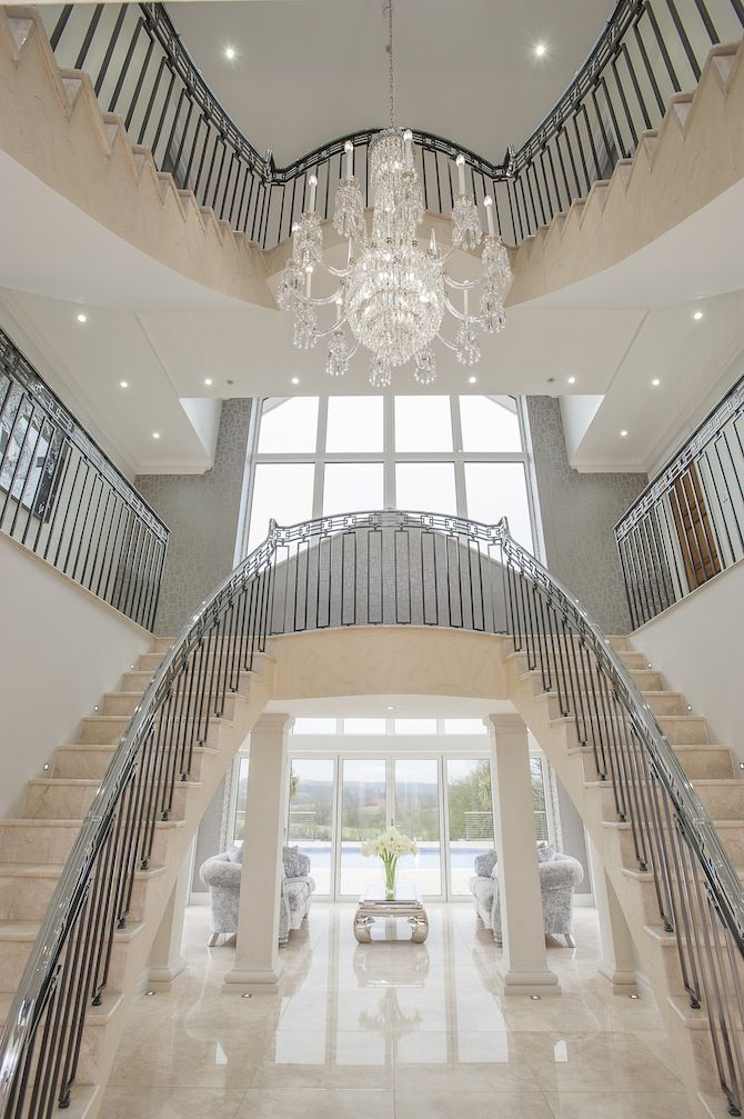 contemporary staircase, crystal chandelier Kent England | Antique ...