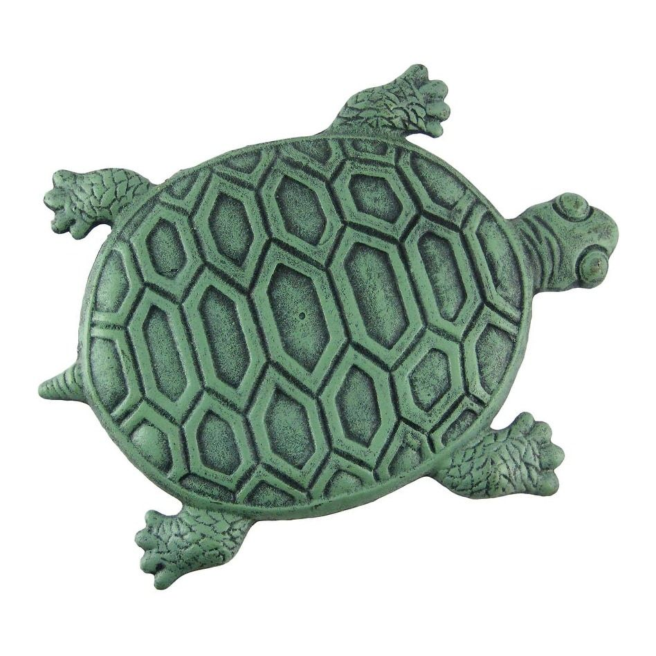 Cast Iron Turtle Garden Stepping Stone Step Tile, Green, Outdoor ...
