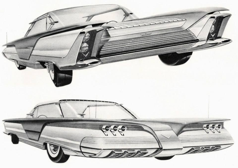 "Kaiser Aluminium ""Idea Cars"" (1958)  ""In the late 1950s, Kaiser Aluminum was looking to expand its market by encouraging the use of more aluminum in products that were traditionally built out of other materials, such as steel.  As part of its effort to persuade the domestic auto industry to build cars using aluminum--or, at least, more aluminum than it was using at the time--Kaiser engaged designer Frank Hershey to produce a portfolio of aluminum car designs which would illustrate some…"