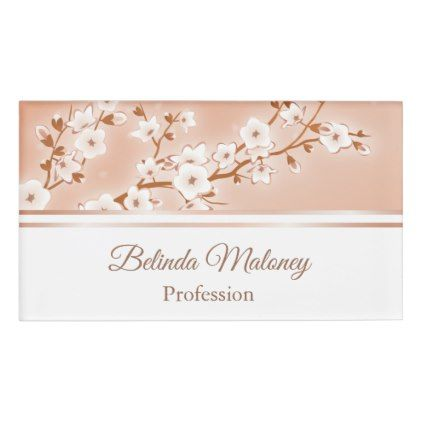 Ocre Rose Gold Cherry Blossoms Name Tag Zazzle Com Cherry Blossom Floral Gifts Name Tags