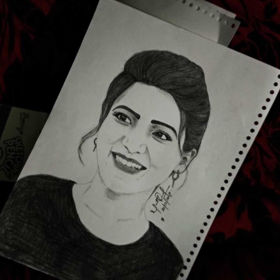 My Sketch Of Actress Samantha Ruth Prabhu Samantha Samantharuthprabhu Art Pencilsketch Drawi Pencil Sketch Images Art Drawings Sketches Celebrity Drawings