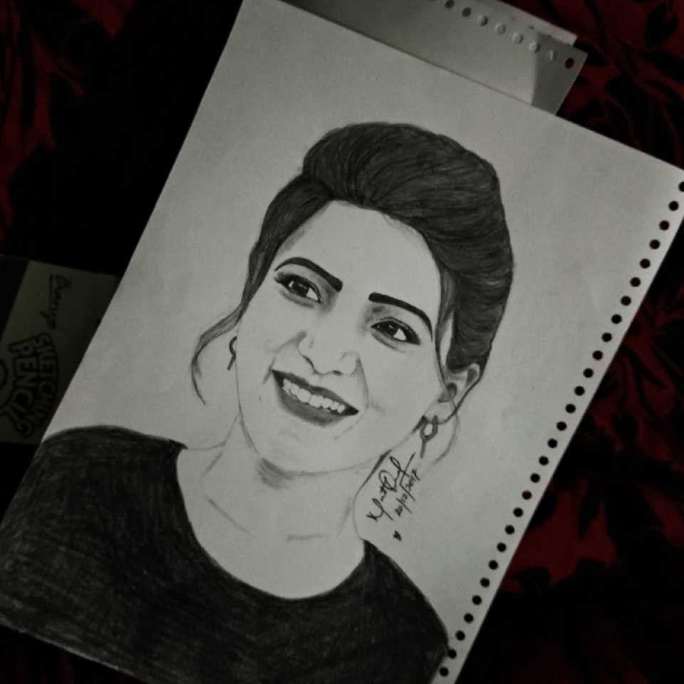 My sketch of actress samantha ruth prabhu samantha samantharuthprabhu art pencilsketch drawing potraitsketch sketch