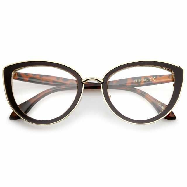 5e3ceb517c5 Description • Measurements • Add retro flair to your look with these flirty  cat eye glasses. Featuring a metal frame with gold trim for an elegant