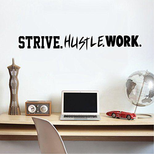 "Vinyl Wall Art Decal - Strive. Hustle. Work. - 4"" x 31 ..."