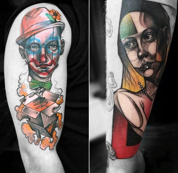 modern art line and colors - many tattoos.