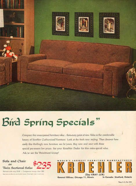 Modern Furniture Ads vintage 1954 kroehler furniture print ad modern mid century couch