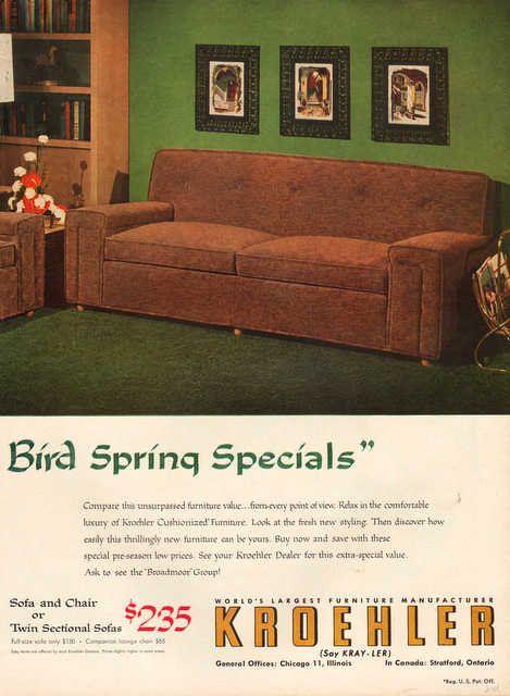 Vintage 1954 Kroehler Furniture Print Ad Modern Mid Century Couch