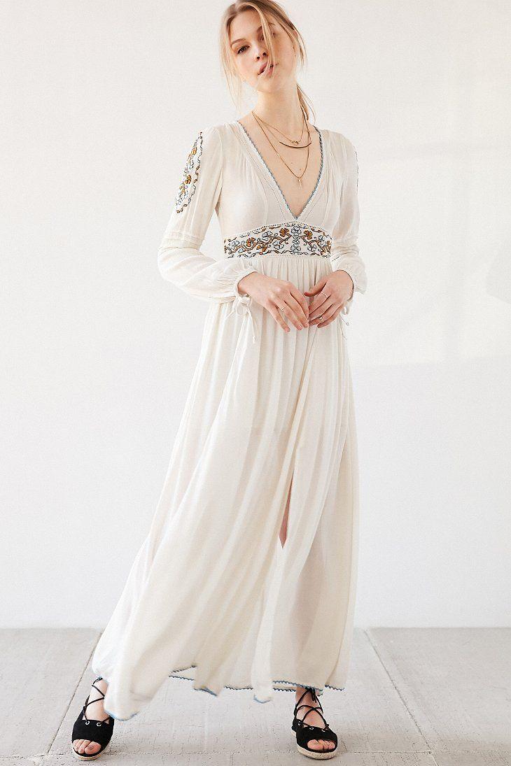 Ecote sweet surrender embroidered longsleeve maxi dress boho chic