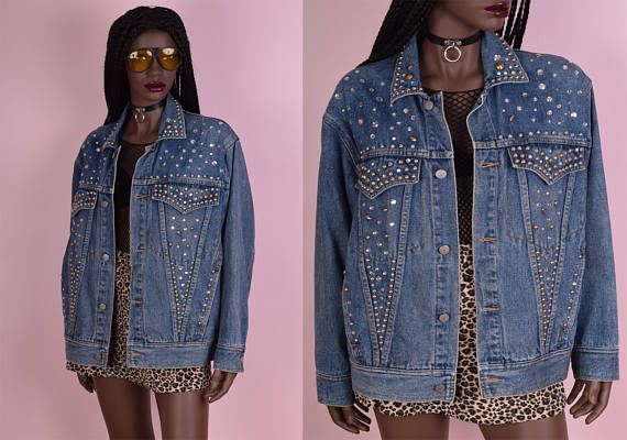 6882e78618352 90s Studded Bedazzled Denim Jacket/ Unisex Large/ 1990s/ Jean ...