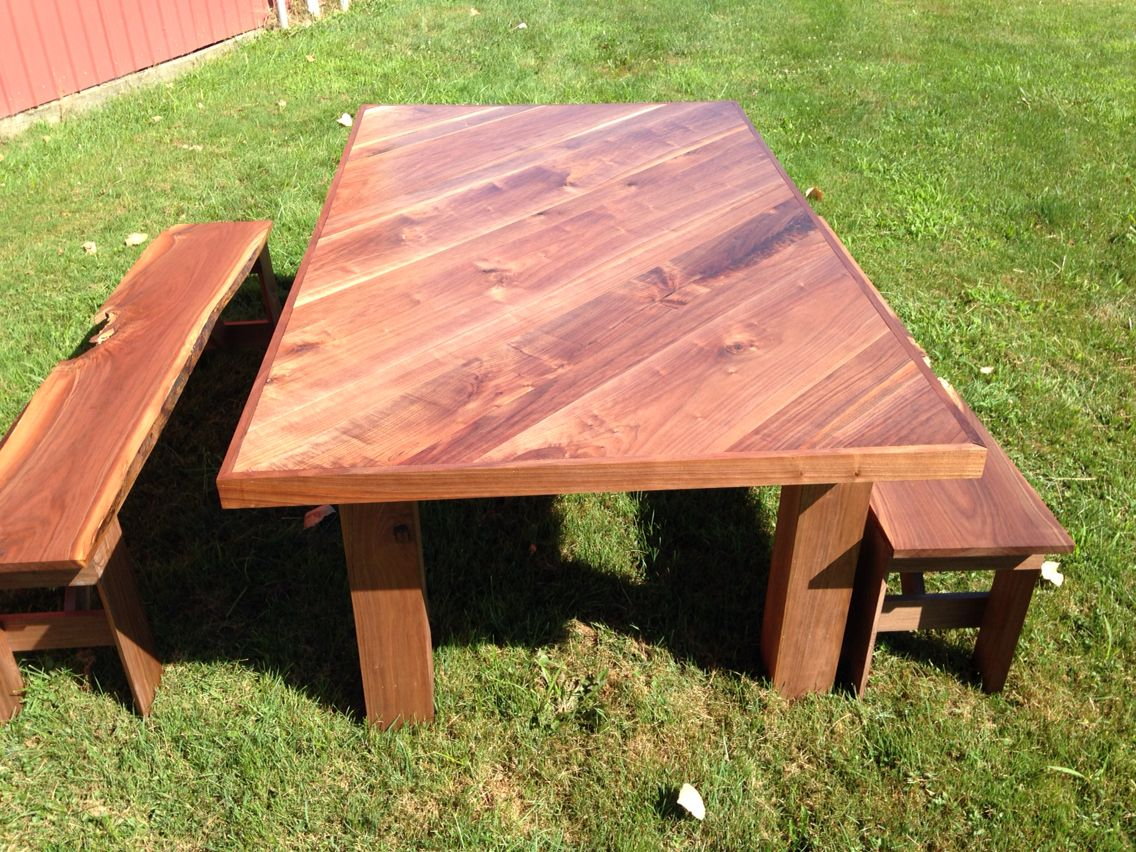 Admirable Diagonal Black Walnut Farmhouse Table With Matching Benches Theyellowbook Wood Chair Design Ideas Theyellowbookinfo