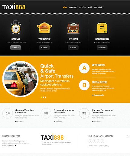 Template 45274 Yellow And Black Taxi Responsive Joomla Template With Homepage Slider Blog And Gallery Joomla Templates Joomla Web Design
