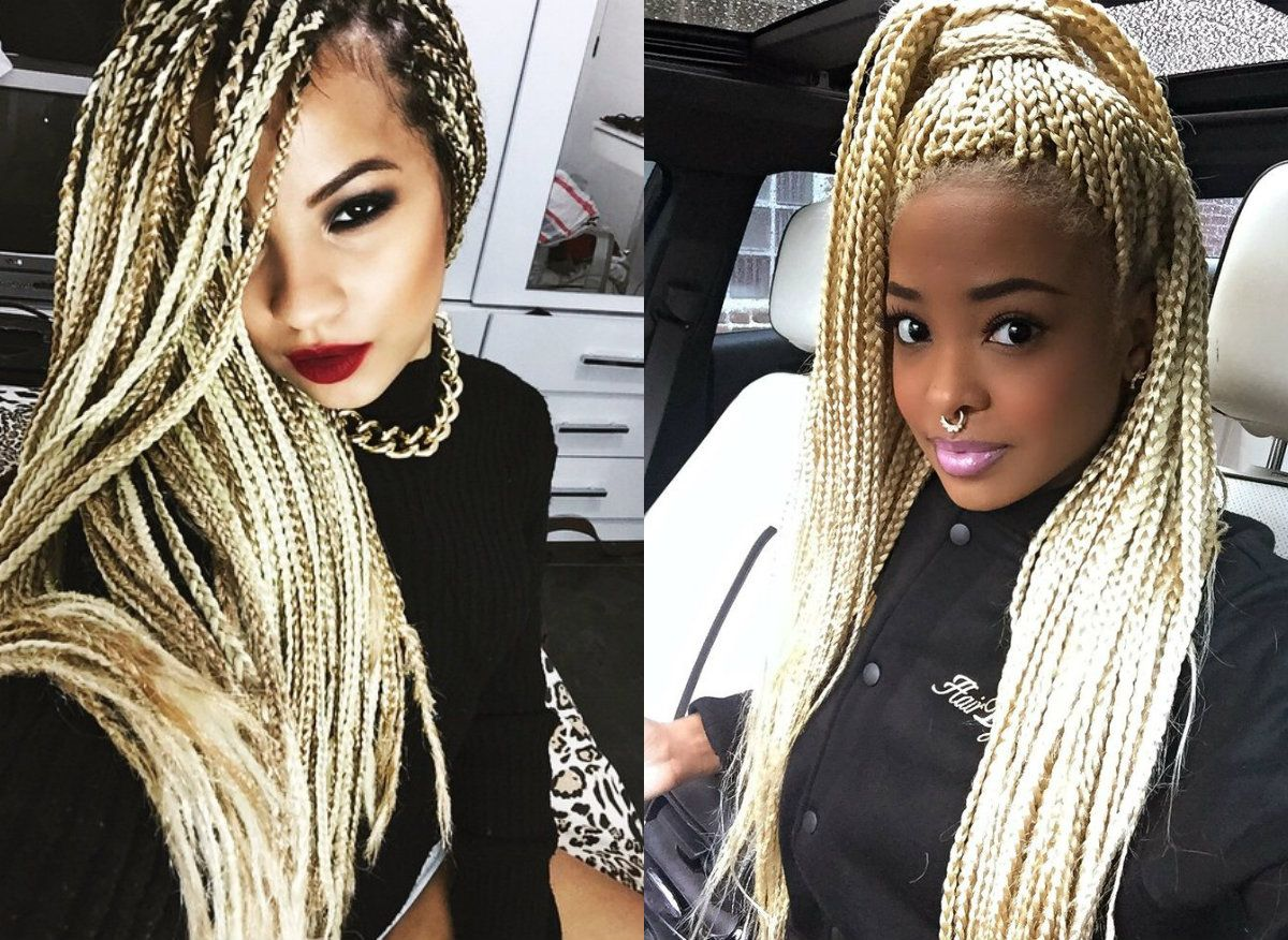 Hairstyles Braids With Color: Hottest Box Braids Natural Hair Colors 2017