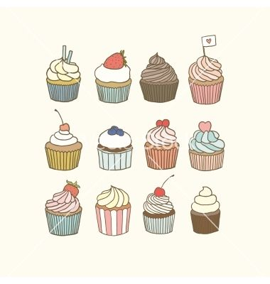 Set of 12 doodle cupcakes vector by kondratya on VectorStock®