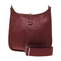 Hermes Rouge Garance Taurillon Clemence Leather Evelyne III PM Crossbody Bag (P Year) (Discount code is not applicable)