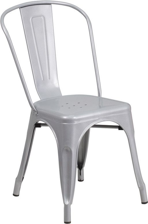Silver Metal Chair Contemporary