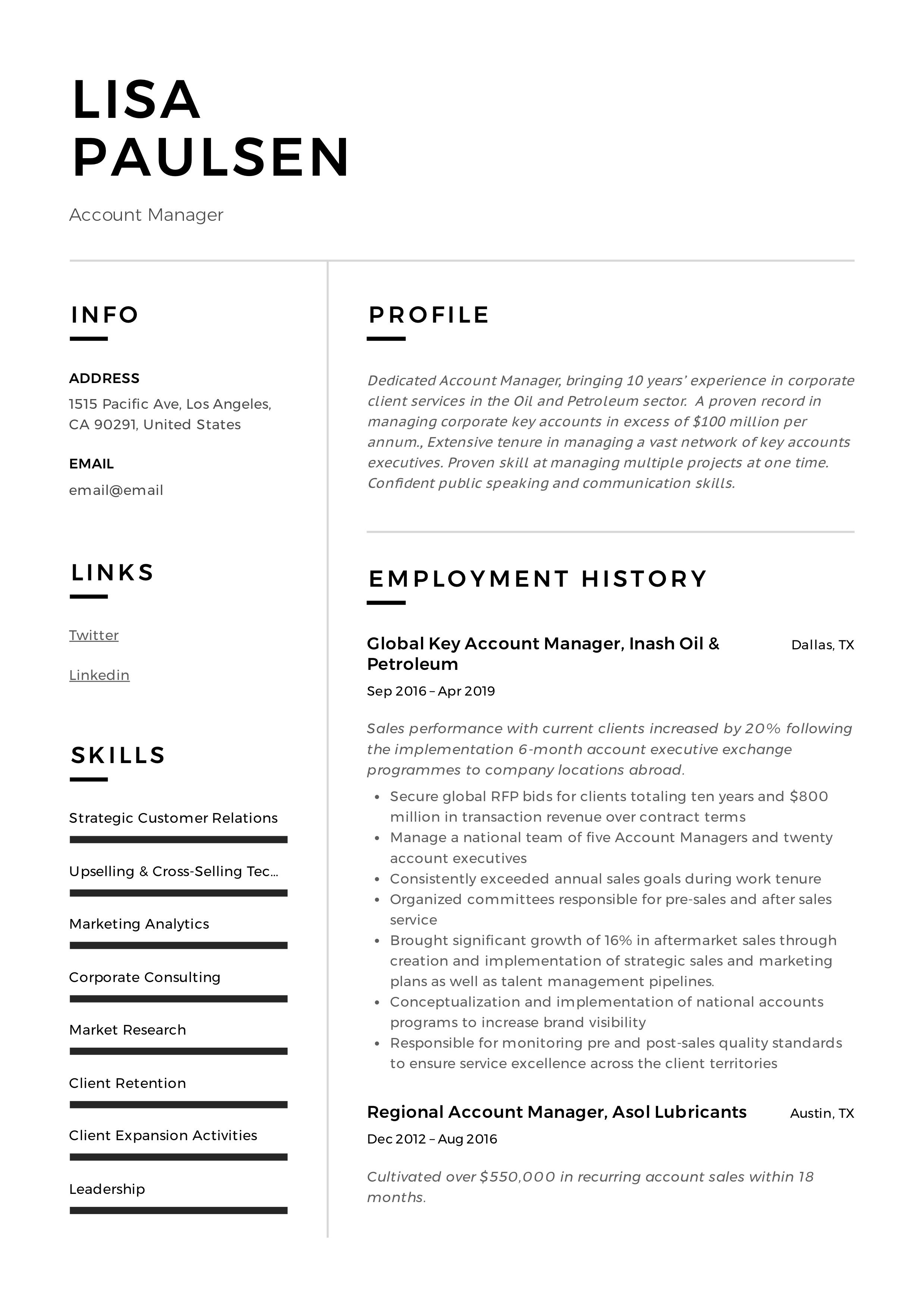 Professional account manager resume template design