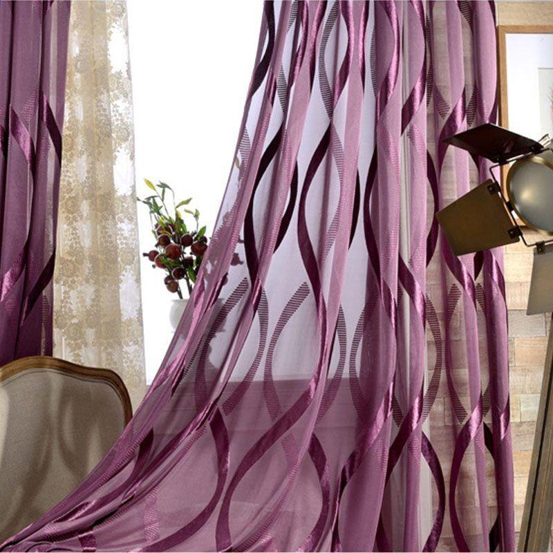 Purppura Aaltopahvi Striped Tulle Verhot Olohuoneeseen Shiny Liner