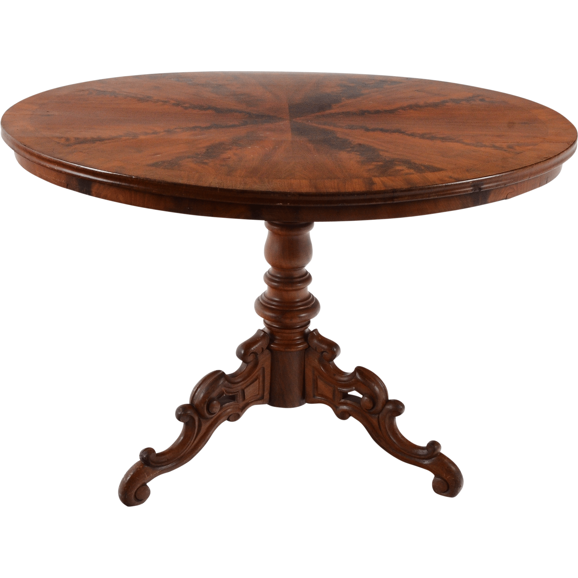 Antique American Victorian Flame Mahogany Oval Table