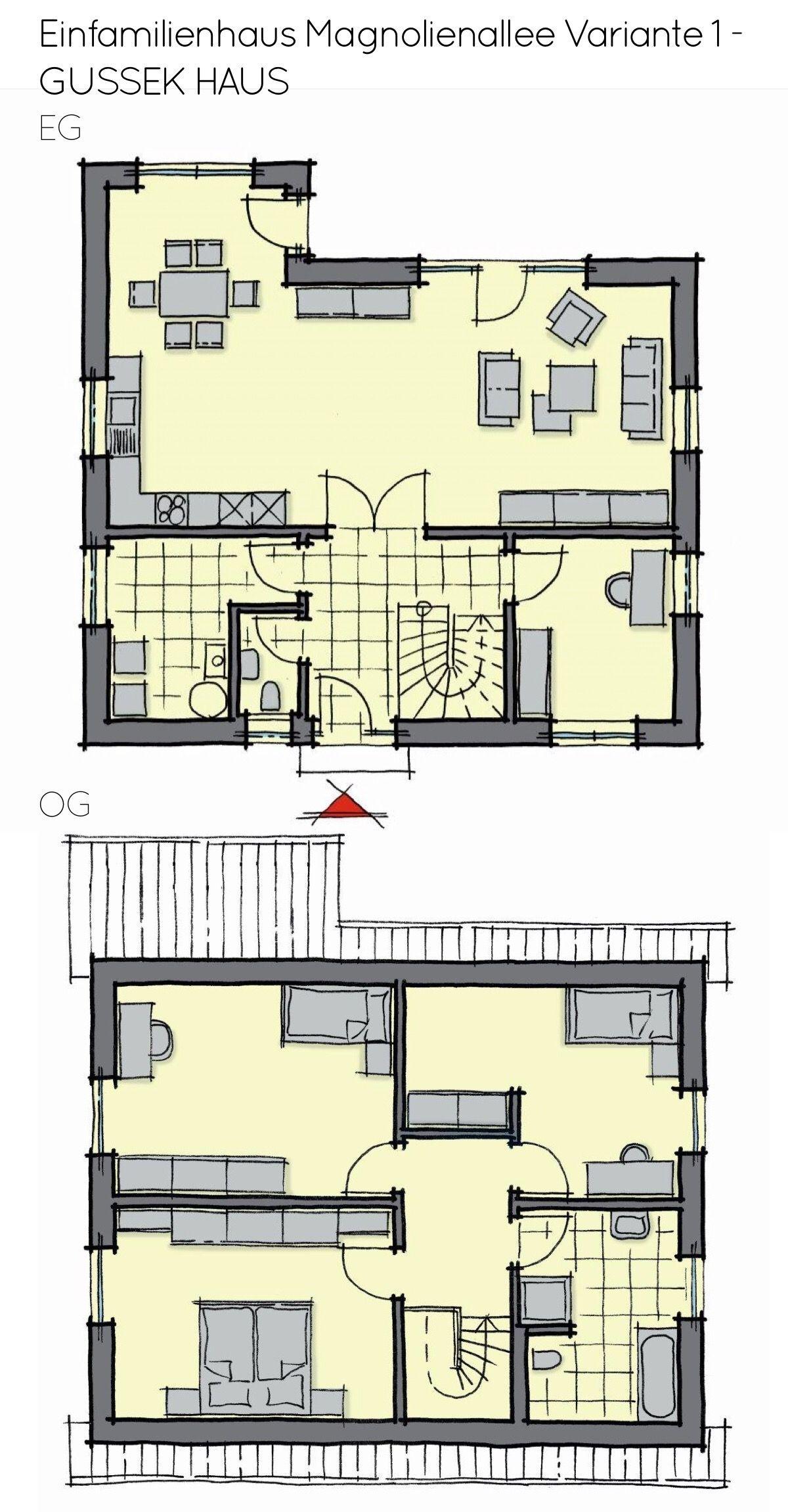 Grundriss Einfamilienhaus mit Satteldach & Wintergarten