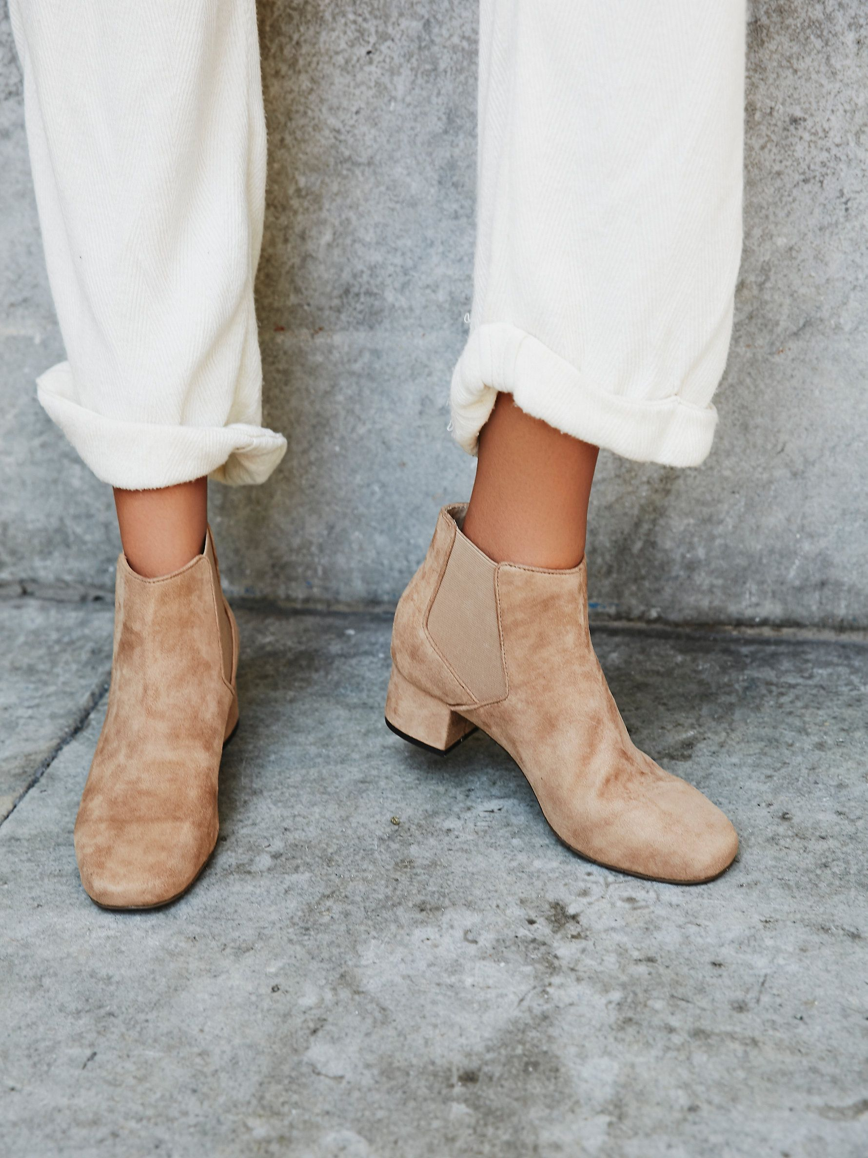 8f99c6b54c540 Vegan Kelly Boot | Vegan suede ankle bootie with Chelsea-style elastic  bands on the sides and a small chunky heel. Features a padded footbed for a  cute and ...
