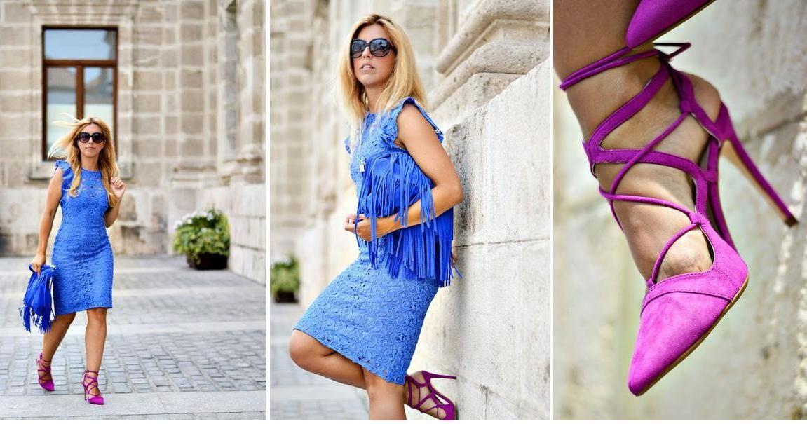 Vestido azul combinacion de zapatos